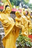 Золотые статуи Будды вдоль лестниц водя до 10 Thousa Стоковая Фотография RF