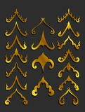Золотые тайские элементы дизайна искусства иллюстрация вектора