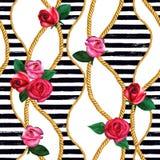Золотые цепи веревочки, подняли безшовная картина Текстура моды руки акварели вычерченная стоковые фото