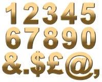 золотые числа белые Стоковая Фотография RF