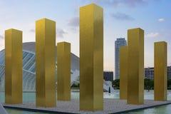 Золотые штриховатости в городе Valencian наук Стоковые Фотографии RF