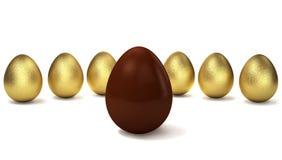 Золотые яичка в ряд с яичком шоколада в фронте иллюстрация 3d Стоковое фото RF