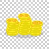 Золотые bitcoins, виртуальная валюта, ecash Стоковое Изображение