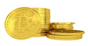 Золотые bitcoins на белой предпосылке Стоковая Фотография
