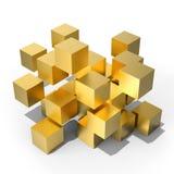 Золотые 3D кубы, иллюстрация 3D Стоковая Фотография
