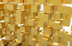 Золотые 3D кубы, иллюстрация 3D Стоковые Изображения RF
