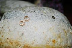 2 золотых обручального кольца на камне Стоковые Фотографии RF