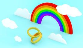 2 золотых обручального кольца с иллюстрацией радуги и облаков 3D иллюстрация штока