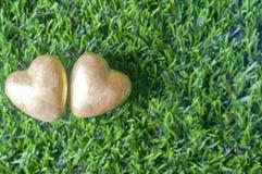 2 золотых сердца на предпосылке зеленого стекла Влюбленность ценный c Стоковые Фотографии RF