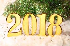 2018 золотых чисел текста и украшения Стоковое Изображение RF
