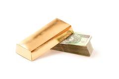 золот в слитках бумага Польша дег вниз Стоковая Фотография
