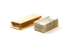 золот в слитках бумага Польша дег Стоковое Фото