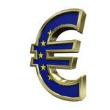 Золот-голубой знак евро при звезды изолированные на белизне Стоковое фото RF