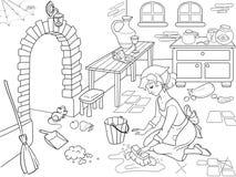 Золушка очищает вверх кухню Девушка на поле, вокруг беспорядка Книжка-раскраска шаржа иллюстрация вектора