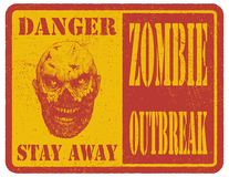 зомби больше моего знака портфолио подписывает предупреждение вычерченная рука вектор Стоковые Фотографии RF