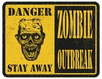 зомби больше моего знака портфолио подписывает предупреждение вычерченная рука вектор наличных дег e eps8 наслоенный иллюстрацией Стоковое Фото