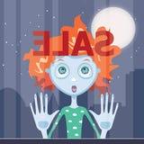 Зомби девушки Redhead преследованное с продажей Стоковые Фото
