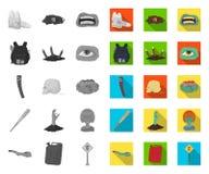 Зомби и атрибуты mono, плоские значки в установленном собрании для дизайна Мертвая иллюстрация сети запаса символа вектора челове иллюстрация штока