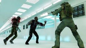 Зомби и солдат тяжёлого удара Стоковые Изображения