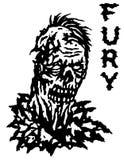 Зомби неистовства также вектор иллюстрации притяжки corel Черно-белые цвета Стоковое Изображение