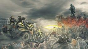 Зомби орды атакуют снимая солдат на улице мертвого города иллюстрация вектора