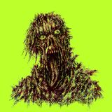 Зомби с сорванными стороной и языком смертной казни через повешение бесплатная иллюстрация