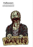 Зомби хеллоуина на предпосылке крови Стоковое Изображение RF