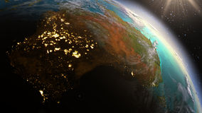 Зона Австралии земли планеты используя NASA спутниковых снимков Стоковые Изображения