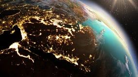 Зона Азии земли планеты западная используя NASA спутниковых снимков Стоковые Фотографии RF