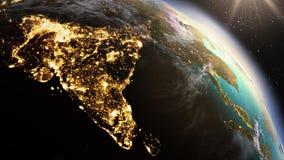 Зона Азии земли планеты используя NASA спутниковых снимков Стоковые Изображения RF