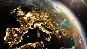Зона Европы земли планеты используя NASA спутниковых снимков Стоковые Фото