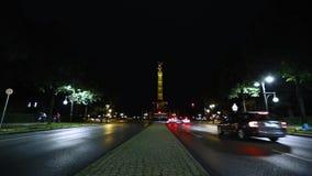 Зона и шоссе перед столбцом победы в Берлине, панорамном взгляде столбца победы, Siegessaule, Берлине сток-видео