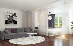 Зона кровати стеклянной стены в интерьере Стоковое Изображение RF