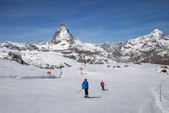 Зона Маттерхорна катаясь на лыжах Стоковые Фото