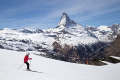 Зона Маттерхорна катаясь на лыжах Стоковое Фото