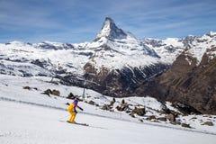 Зона Маттерхорна катаясь на лыжах Стоковые Изображения RF