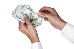 зона подсчитывая руки изолировала большие деньги над белизной текста вашей Стоковая Фотография RF