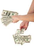 зона подсчитывая руки изолировала большие деньги над белизной текста вашей Стоковое фото RF