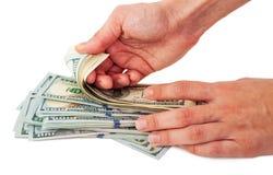 зона подсчитывая руки изолировала большие деньги над белизной текста вашей Стоковое Изображение RF