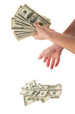 зона подсчитывая руки изолировала большие деньги над белизной текста вашей Стоковое Фото