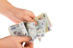 зона подсчитывая руки изолировала большие деньги над белизной текста вашей Стоковые Фотографии RF