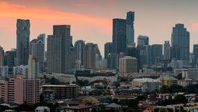 Зона предпринемательства города ночи светлая в Бангкоке Таиланде Стоковые Фотографии RF