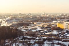 Зона продукции городского пейзажа на свете утра Стоковое Изображение