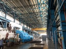 Зона турбины в электрической станции тепловой мощности стоковые фото