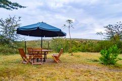 Зона усаживания с зонтиком в саванне PA Maasai Mara Стоковое Изображение
