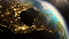 Зона Центральной Америки земли планеты используя NASA спутниковых снимков Стоковое фото RF