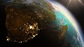 Зона Южной Африки земли планеты используя NASA спутниковых снимков стоковые изображения