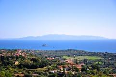 Зона Livathos в западном острове Kefalonia, Ionian островах, Греции Стоковые Изображения