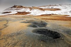 Зона Namaskard геотермическая активная вулканическая в северо-западной Исландии Стоковая Фотография