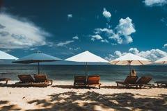 Зонтики вдоль пляжа стоковое фото rf